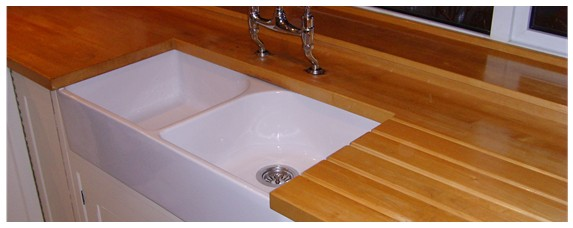 Laminate worktop replaced with solid hardwood worktop